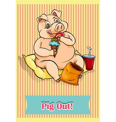 English idiom pig out vector