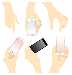 Hand holding touch mobile smart phone vector