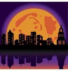 halloween night city vector image