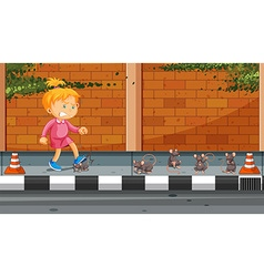 Girl kicking rats on the street vector