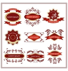 Set of stickers emblems with floral patterns vector