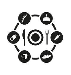 black food icon set vector image