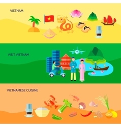 Vietnamese culture horizontal flat banners set vector