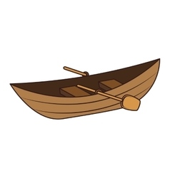 Wooden canoe icon vector