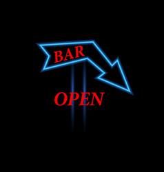 arrow neon sign open bar vector image