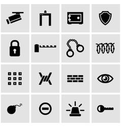 black security icon set vector image vector image