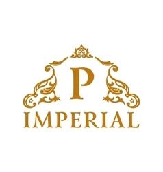 Calligraphic vintage emblem gold decor luxury vector