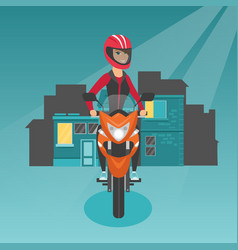 Caucasian woman riding a motorcycle at night vector