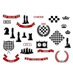Chess game items icons and design elements vector