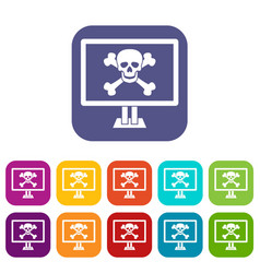 Computer monitor with a skull and bones icons set vector