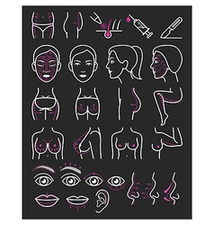 Cosmetic plastic surgery icons vector image