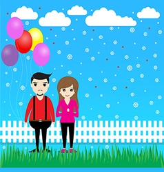Couple with balloons in the garden vector image vector image