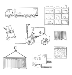 Delivery and shipping sketch icons vector image