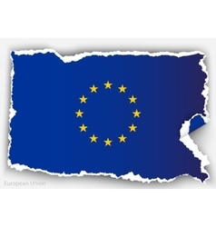 Design flag european union from torn papers with vector