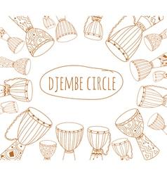 Djembe circle doodle flyer design vector