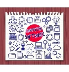 Doodle computer software set vector