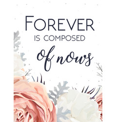 floral design card peach garden rose white peony vector image vector image