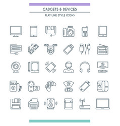 gadget thin line icon set vector image vector image