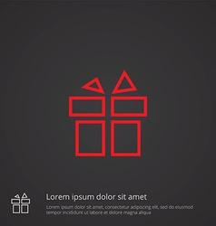 Gift outline symbol red on dark background logo vector