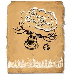 Hand Drawn congratulation Christmas Greeting Card vector image