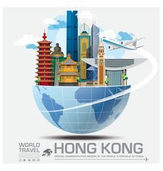 Hong kong landmark global travel and journey vector