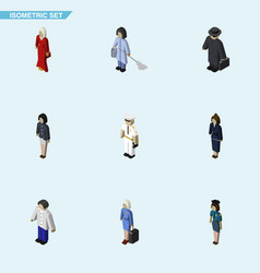 Isometric human set of policewoman female seaman vector