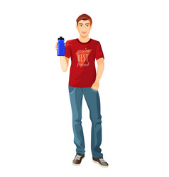 man in t-shirt and jeans with plastic flask of vector image