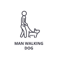 man walking dog line icon outline sign linear vector image
