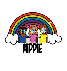 Nice people hippies with rainbow and cloud vector