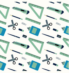 pattern of schools supplies from backpack vector image