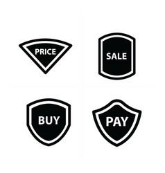 Price tags label set plate style vector
