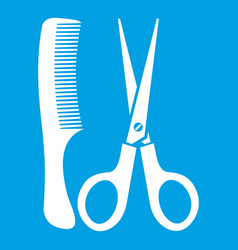 scissors and comb icon white vector image