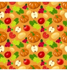 Seamless harvest fruits and vegetables vector