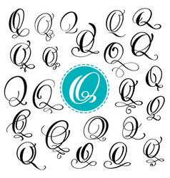 set letter q hand drawn flourish vector image vector image