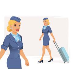 Smiling stewardess vector