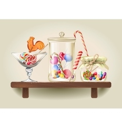 Sweets in glass jars on wooden shelf vector image vector image