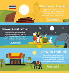 thailand travel banner horizontal set flat style vector image
