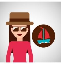 toursit female hat sunglasses sailboat vector image