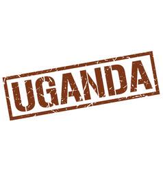 Uganda brown square stamp vector