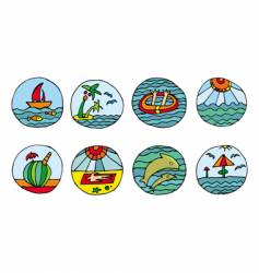 vacation beach icons vector image vector image