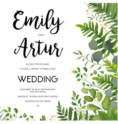 wedding floral greenery invite card design vector image