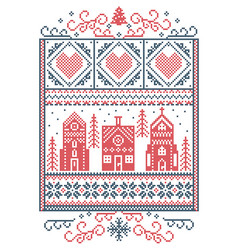 winter wonderland scandinavian pattern vector image vector image