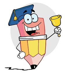 Graduate pencil character ringing a bell vector