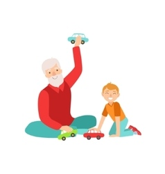 Grandfather and grandson playing toy cars part of vector
