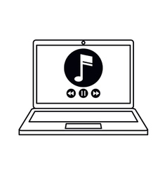 Laptop music player app modern outline vector