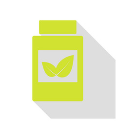 Supplements container sign pear icon with flat vector