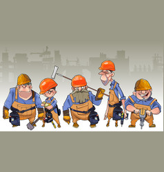 Cartoon team of men in helmets and clothing vector