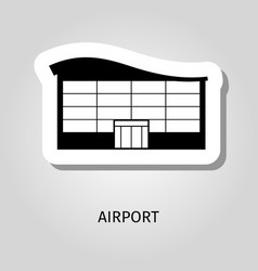 airport black silhouette building sticker vector image