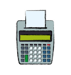calculator with paper printer vector image