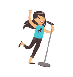 young brunette girl singing with microphone in her vector image